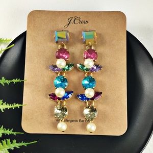 ⭐️NWT J.Crew Multi-Color Drop Statement Earrings